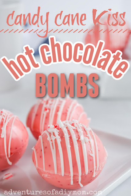 hot chocolate bombs made with candy cane kisses