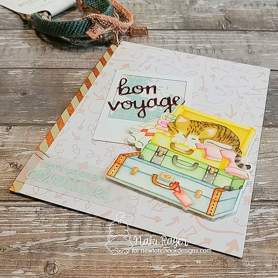 Bon Voyage Card by Nakaba Rager | Stowaway Newton Stamp Set by Newton's Nook Designs #newtonsnook #handmade