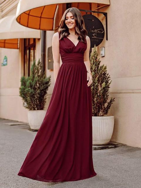 Sleeveless V-Neck Semi-Formal Chiffon Maxi Dress