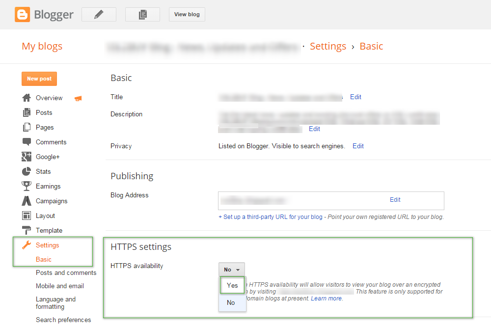 Turn blogger blog to HTTPS for Free