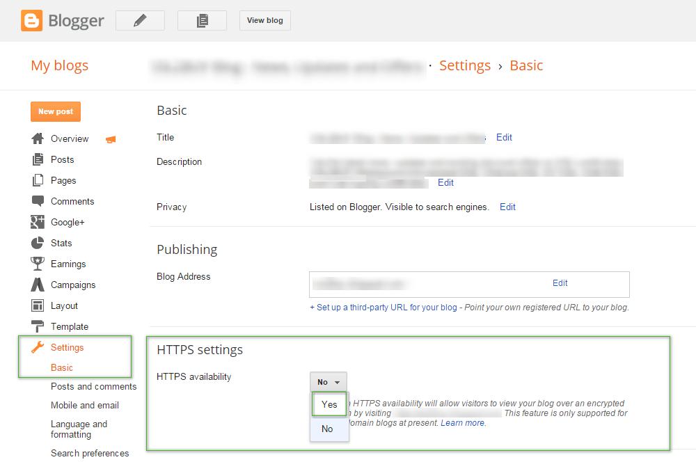 Turn blogger blog to HTTPS for Free