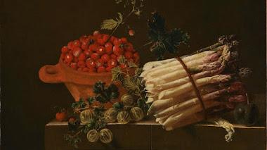 Bodegones con frutas, verduras y alguna flor de Adriaen Coorte
