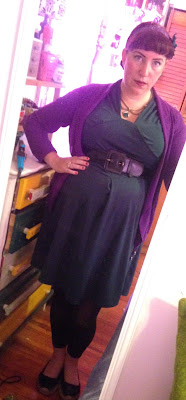 Dark green vintage style dress from SammyDress.com and Cardigan in Purple with Thick Black Belt