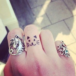 Small Cat Tattoos on Finger