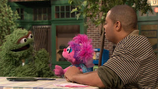 Chris, Abby Cadabby, Oscar the Grouch, Sesame Street Episode 4315 Abby Thinks Oscar is a Prince season 43