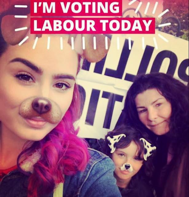 family voting selfie