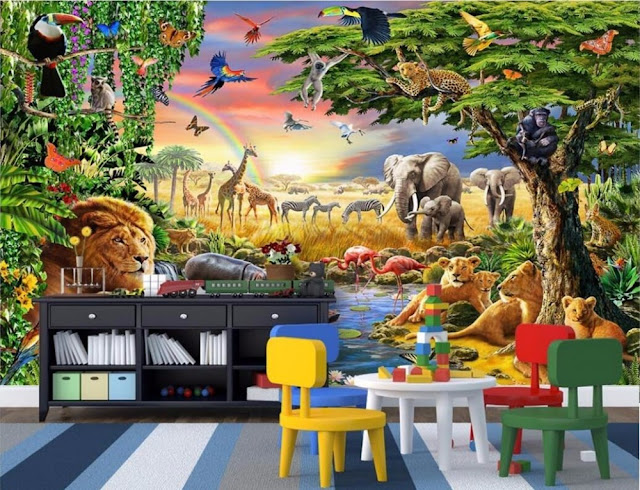 Jungle Wall Mural Kids Room Animals