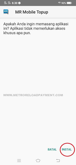 Instal MR Mobile Topup Aplikasi Metro Reload Pulsa
