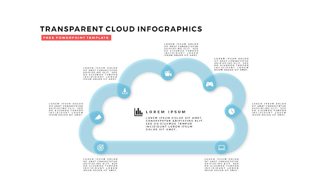 Free Infographic PowerPoint Design Elements with Transparent Clouds in White Background Slide 8