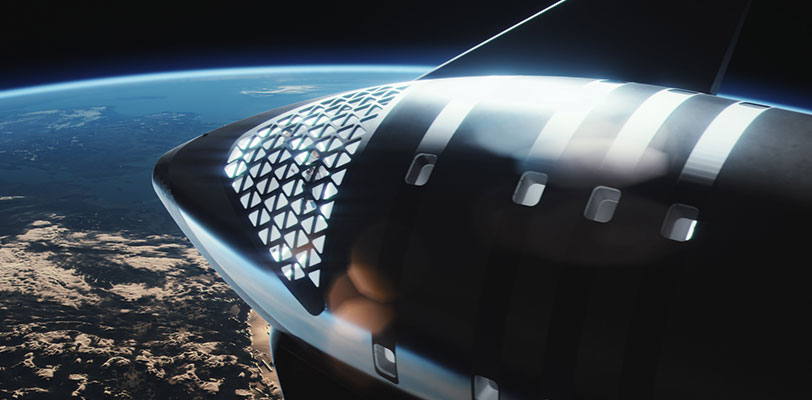 Updated design (2021) of SpaceX's dearMoon Starship - orbiting Earth