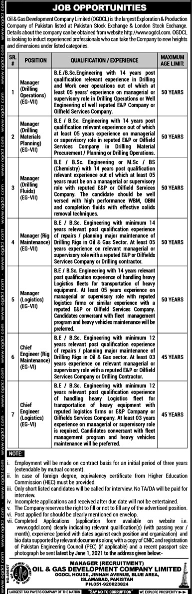 Latest Jobs in Oil And Gas Development Company Limited OGDCL 2021