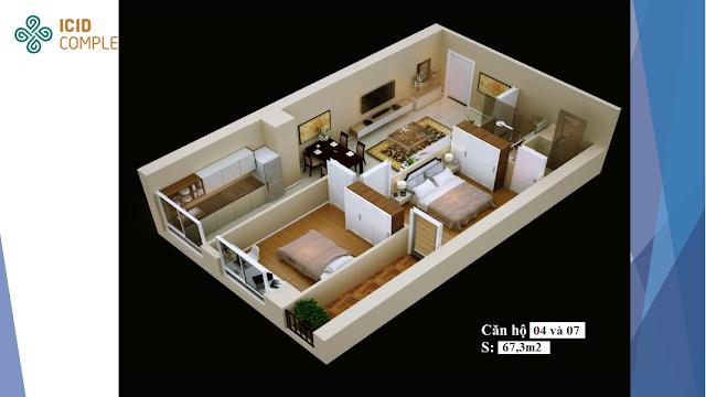 Thiết kế căn 04-07 diện tích 67,3m2 Icid Complex
