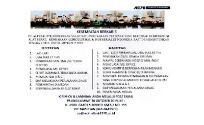 Rekrutmen Kerja Terbaru Medan Oktober 2019