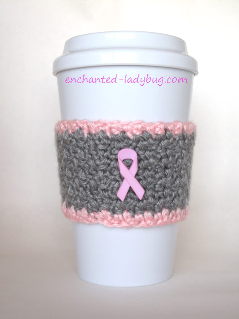Free Pattern: Breast Cancer Awareness Pink Ribbon Cup Cozy