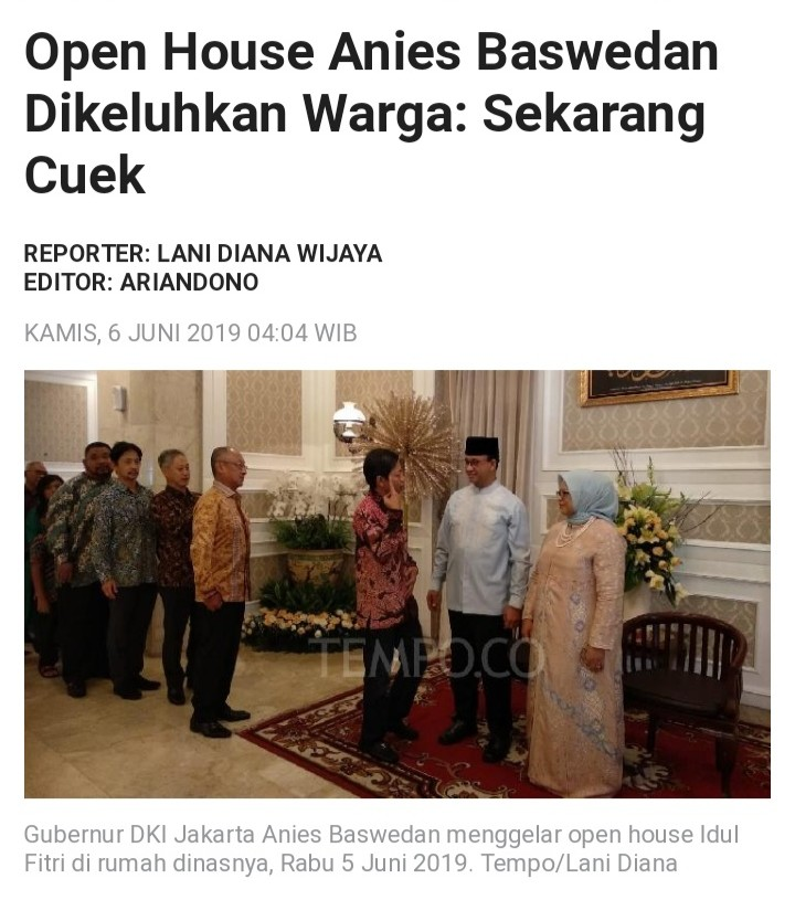 Framing Negatif Berita Open House Anies, Cukong Makin Kalap?