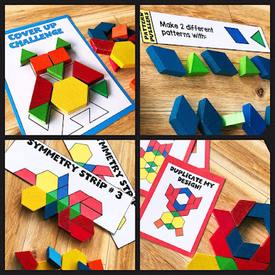 Use morning tubs with pattern blocks for an engaging and hands on way to start the day.  They are also perfect for math centers and as fast finisher activities.