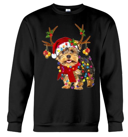 Santa yorkie terrier dog gorgeous reindeer Light Christmas Hoodie, Santa yorkie terrier dog gorgeous reindeer Light Christmas T Shirt