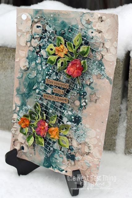 mixed media art journal page showcasing chipboard and stencils by UmWowStudio by Lynne Forsythe