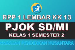 Download RPP 1 Lembar PJOK KK 13 SD/MI Kelas 1