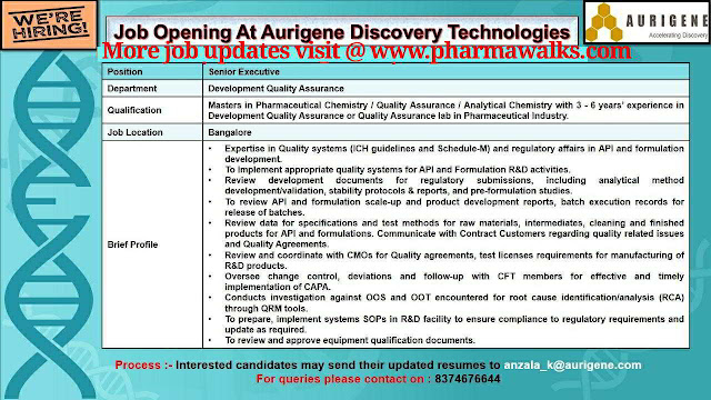 Job Openings for Development Quality Assurance @ Aurigene Discovery Technologies