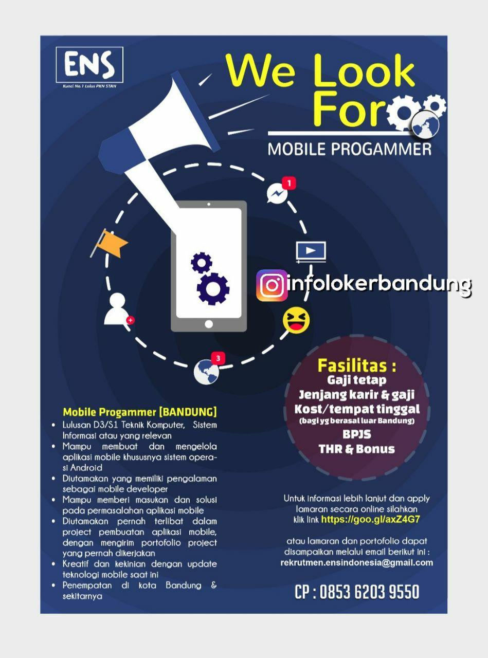 Lowongan Kerja Mobile Programmer ENS Indonesia Desember 2017
