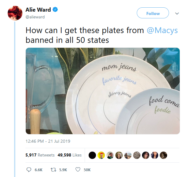 https://www.cbsnews.com/news/mom-jean-plates-macys-pulls-plates-with-mom-jeans-and-skinny-jeans-portions/