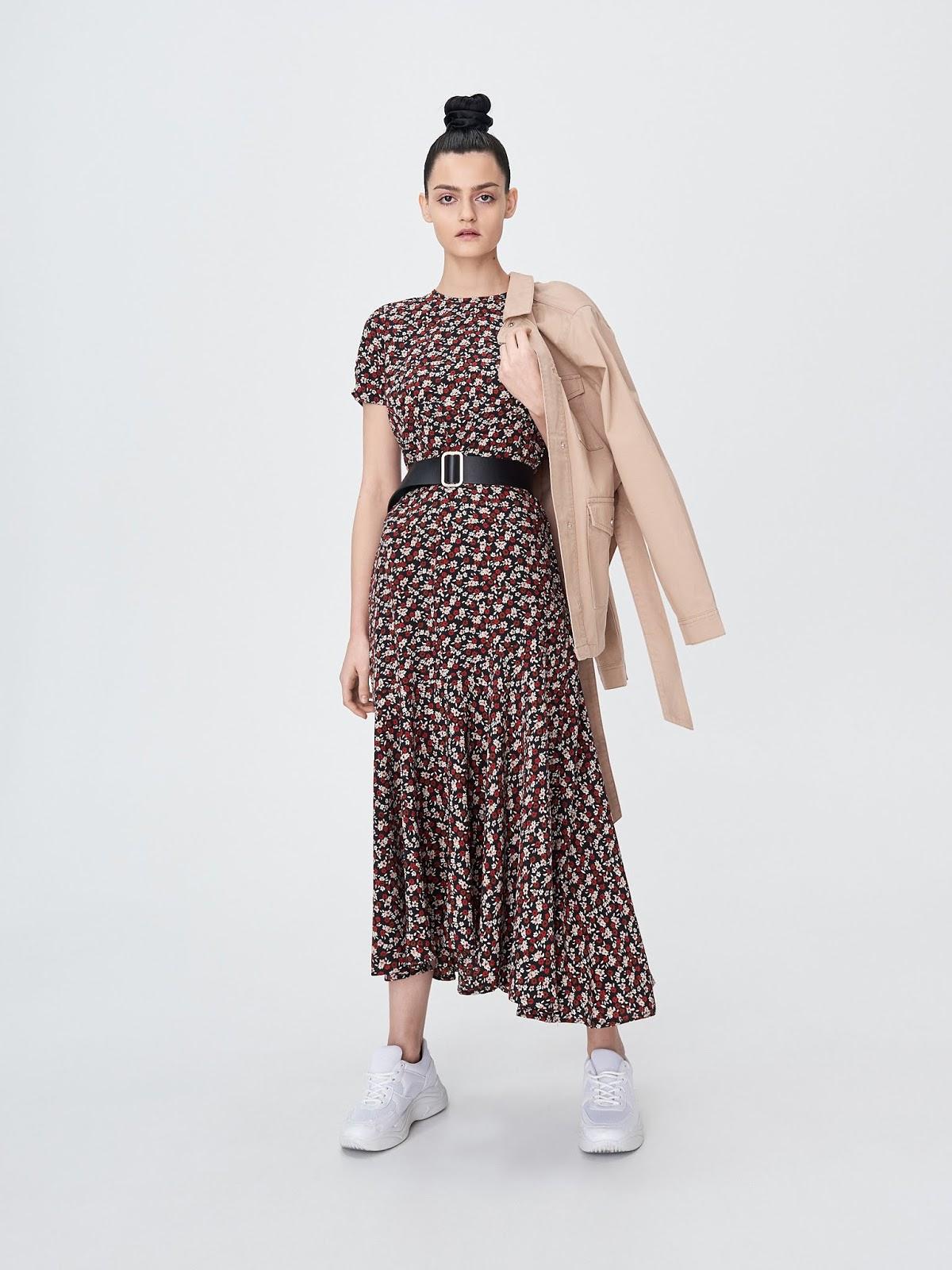 Sukienka midi z falbaną sinsay