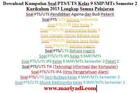Soal PTS/UTS Seni Budaya Kelas 9 SMP/MTs Semester 2 Kurikulum 2013