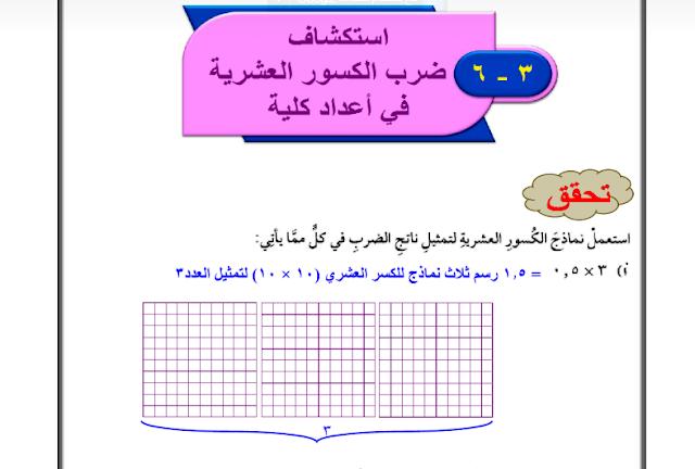 حل درس ضرب الكسورالعشرية في أعداد كلية الرياضيات للصف السادس ابتدائي