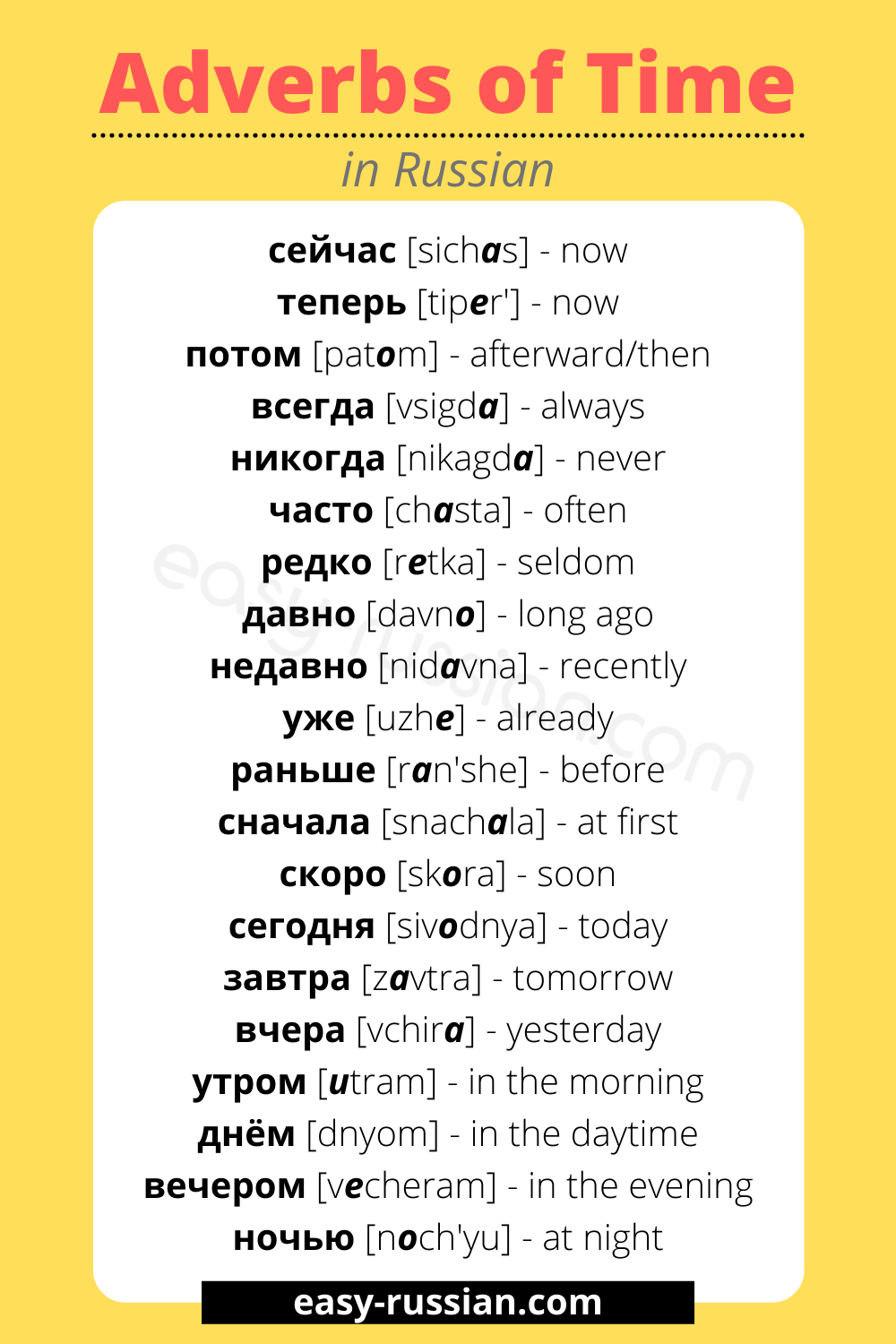 adverbs of time in russian