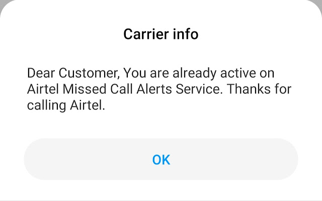 Activate missed call alert in Airtel 2020