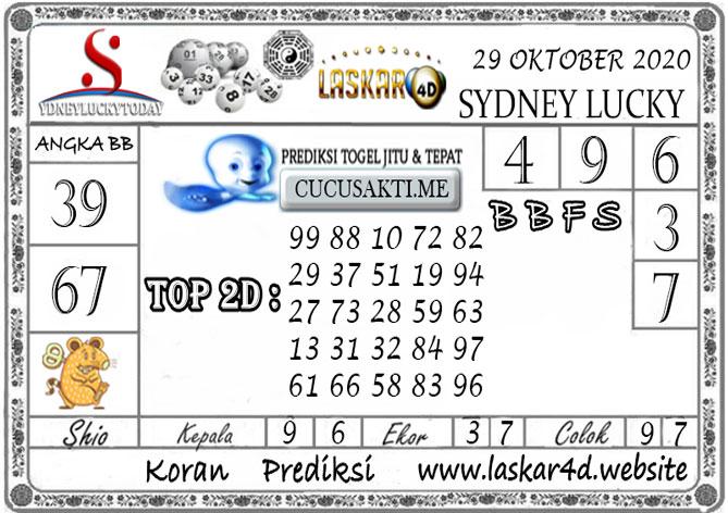 Prediksi Sydney Lucky Today LASKAR4D 29 OKTOBER 2020