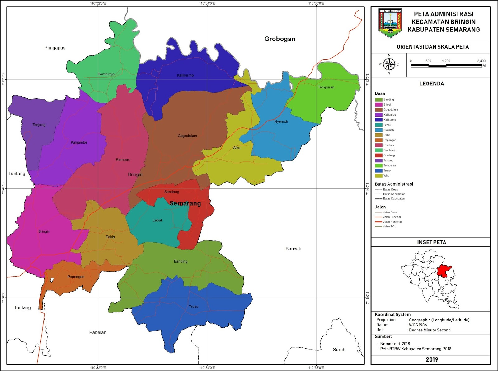 Peta Administrasi Kecamatan Bringin, Kabupaten Semarang ...