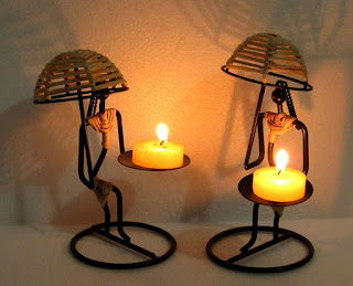 Aadit Crreation Tea Light Candle Holder Set of 2(Umbrella Ladies) - Online Trade DD