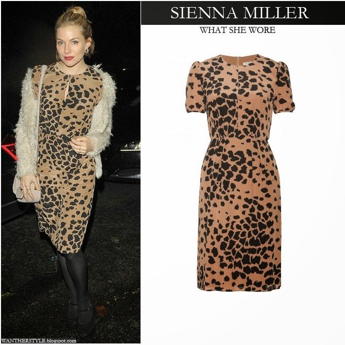 12377119bcdf1 Sienna Miller in animal leopard print silk Burberry dress Want Her Style