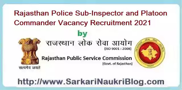 Rajasthan PSC Police Sub-Inspector Recruitment Examination 2021