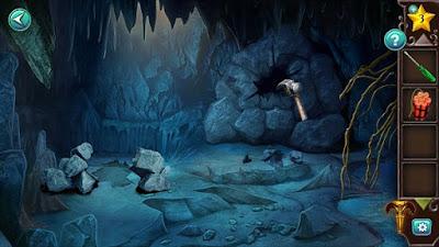 молотком разбиваем стену в пещере