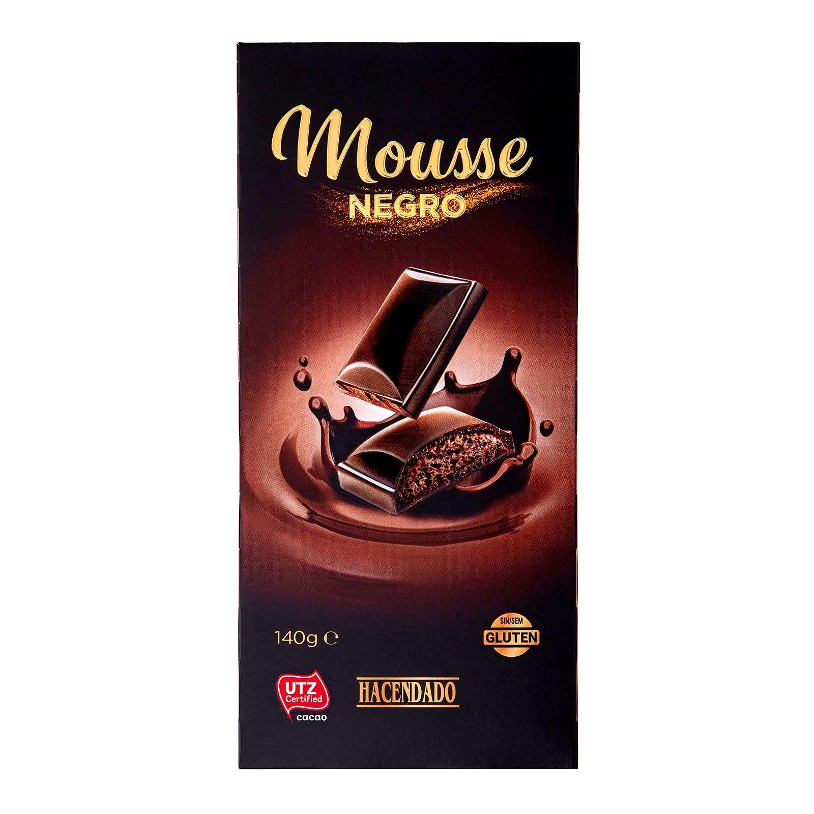 Chocolate negro relleno de mousse Hacendado