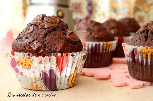 Magdalenas de Chocolate con pepitas de chocolate