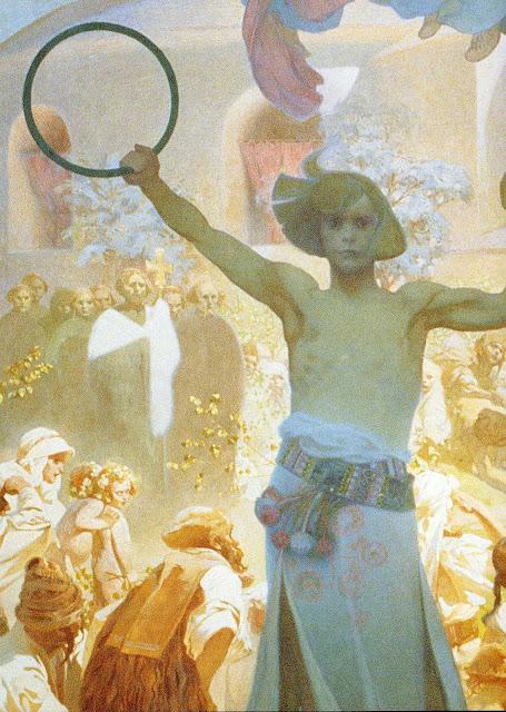Альфонс Муха - Славянский эпос. Введение славянской литургии. Фрагмент. 1912