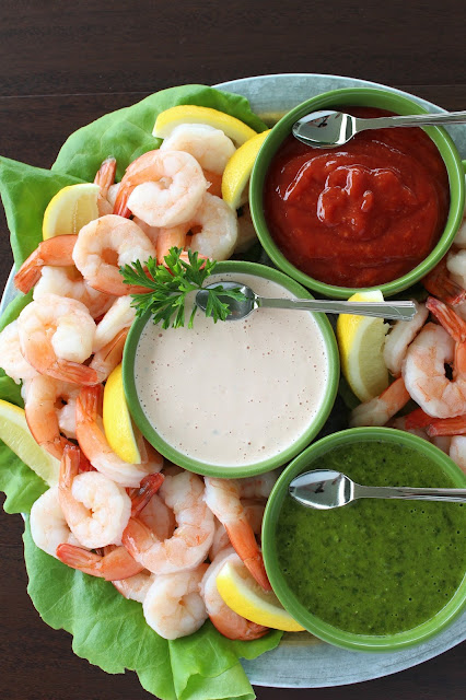 Feast of the Seven Fishes: Shrimp with Dipping Sauces #StonyfieldBlogger