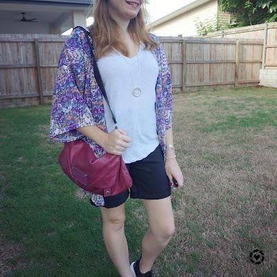 awayfromtheblue instagram | purple printed kimono white print tee denim shorts magenta bag