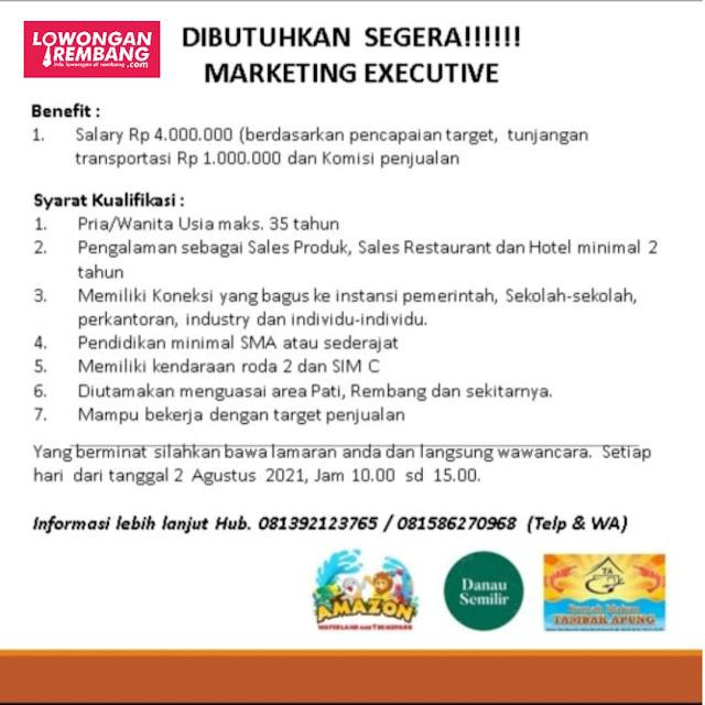 Lowongan Kerja Marketing Executive Amazon Waterland and Themepark, Danau Semilir, Tambak Apung Rembang