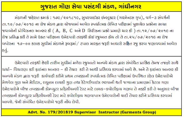 GSSSB ITI Supervisor Instructor Garment Group Final Answer Key, Results, Cut off Marks @ ojasbharti-marugujarat.com