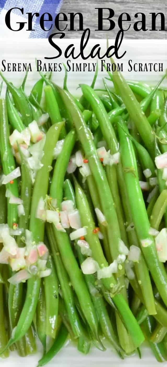Easy Green Bean Salad recipe with Grainy Dijon Shallot Vinaigrette is a favorite side for Thanksgiving, Christmas, Easter, 4th of July, or a picnic from Serena Bakes Simply From Scratch.