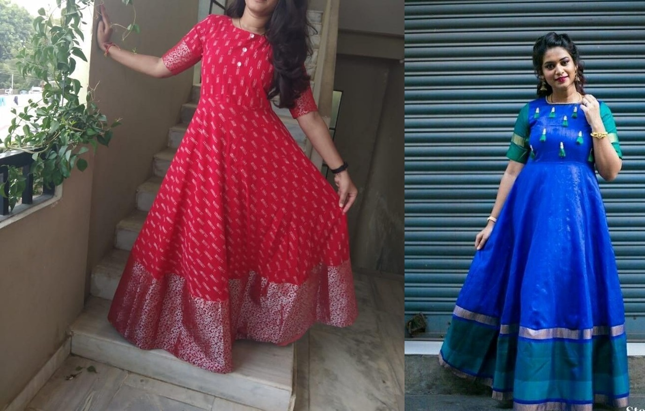 8f1603cb3148c For parties floor length gowns style outfits made from old sarees are  ideal. Use silk or crepe sarees with borders to make long kurti styles like  these and ...