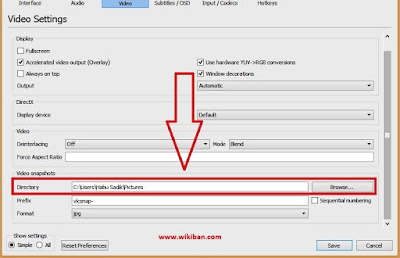 Configure path or directory for saving VLC snap