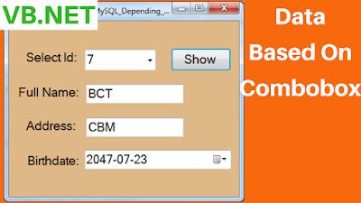 VB.Net Display MySQL Database Values Based On Combobox Value
