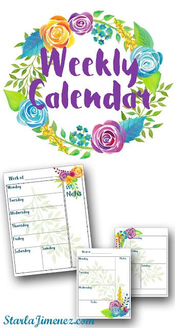 Free weekly printable calendar