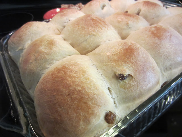 Easy Hot Cross Buns by Renee's Kitchen Adventures in pan fresh out of the oven